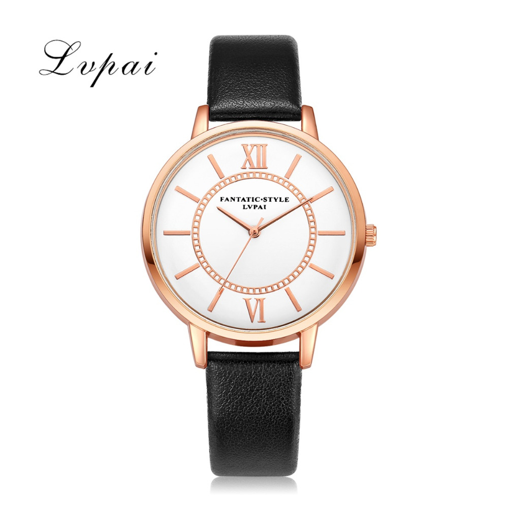 Lvpai Fashion Watches Women Leather Straps Classic Dress Bracelet Wristwatches Ladies Casual Pink Gold Quartz Watch Clock