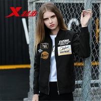 XTEP 2017 Harajuku badge Women Running Baseball Jackets Athletic Coat Fitness Sportswear Sweatshirt free shipping 882128129012