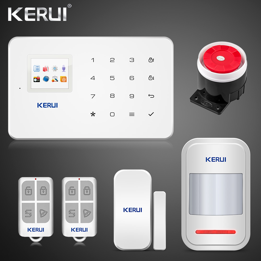 Kerui G18 20 Sets GSM Alarm System TFT Android IOS APP Touch Keypad  Android ISO App Smart Home Burglar Alarm  System DIY