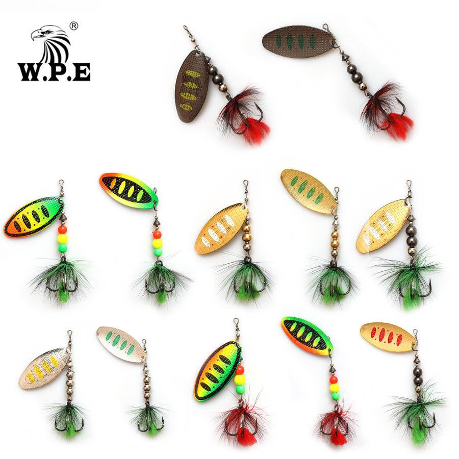W.P.E Spinner Lure 1pcs 8.8g/13g/20.5g Metal Spoon Fishing Lure Hard Bait Feather Carp Fishing Bait Fishing Tackle Pike Wobblers