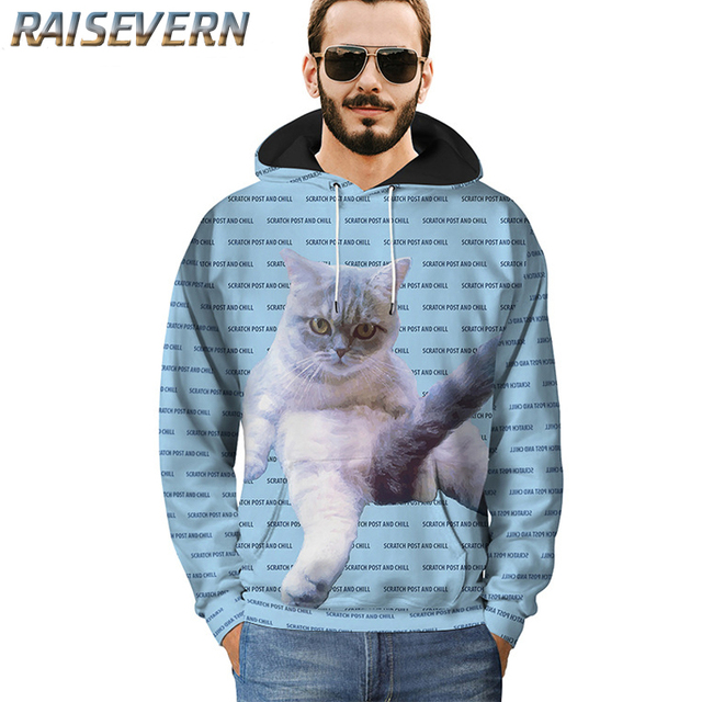 f45b6b400054 RAISEVERN Men Women 3d Hoodies Animal Cat Print Wolf Space Galaxy  Sweatshirts With Hat Autumn