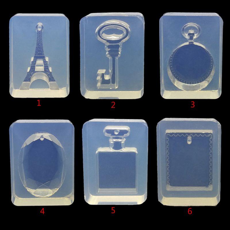 ANGELADY 1PC DIY Silicone Mold Cartoon Eiffel Tower Key Bottle Shape Neckalce Pendant Mould Resin Handmade Jewelry Making Tools