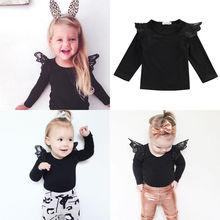 Newborn cotton baby Clothes long sleeve autumn Infant Kids Baby Girl Lace Shoulder T-shirts Tops Outfit цена