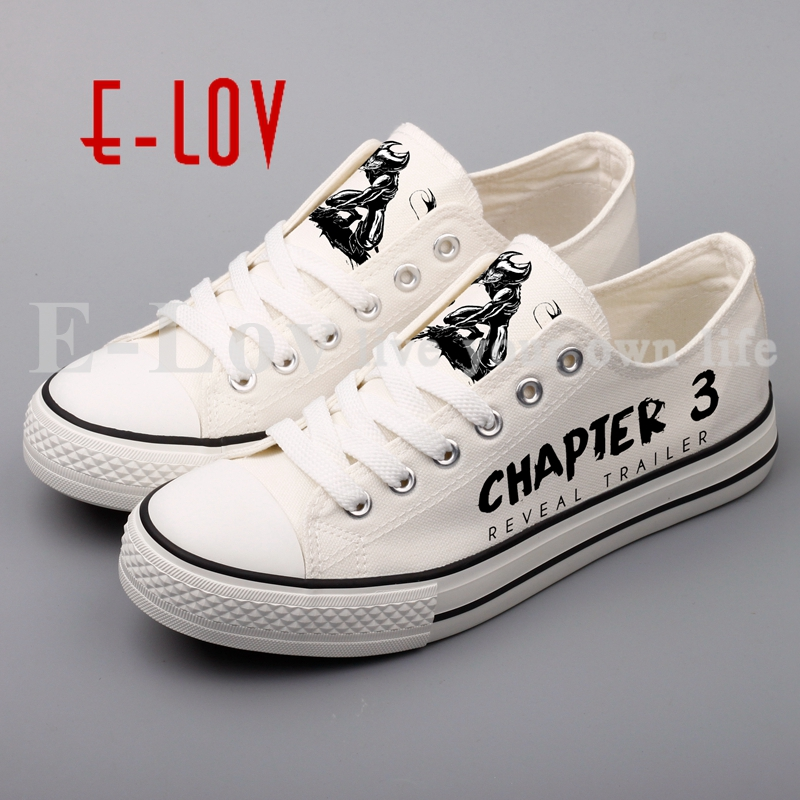 E-LOV Printed Horror Game Graffiti Print Canvas Shoes Cartoon Anime Design Men Boys Casual Walking Shoes Sapatos Masculinos brand quality the walking dead canvas shoes printed women casual flat shoes diy couples and lovers valentine gifts graffiti shoe