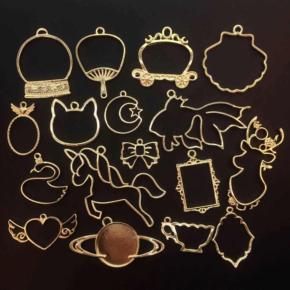 5 pcs/lot Cat head Unicorn Fish shape Metal Frame Pendant Gold Charm Bezel Setting Cabochon Setting UV Resin Epoxy Resin Charm