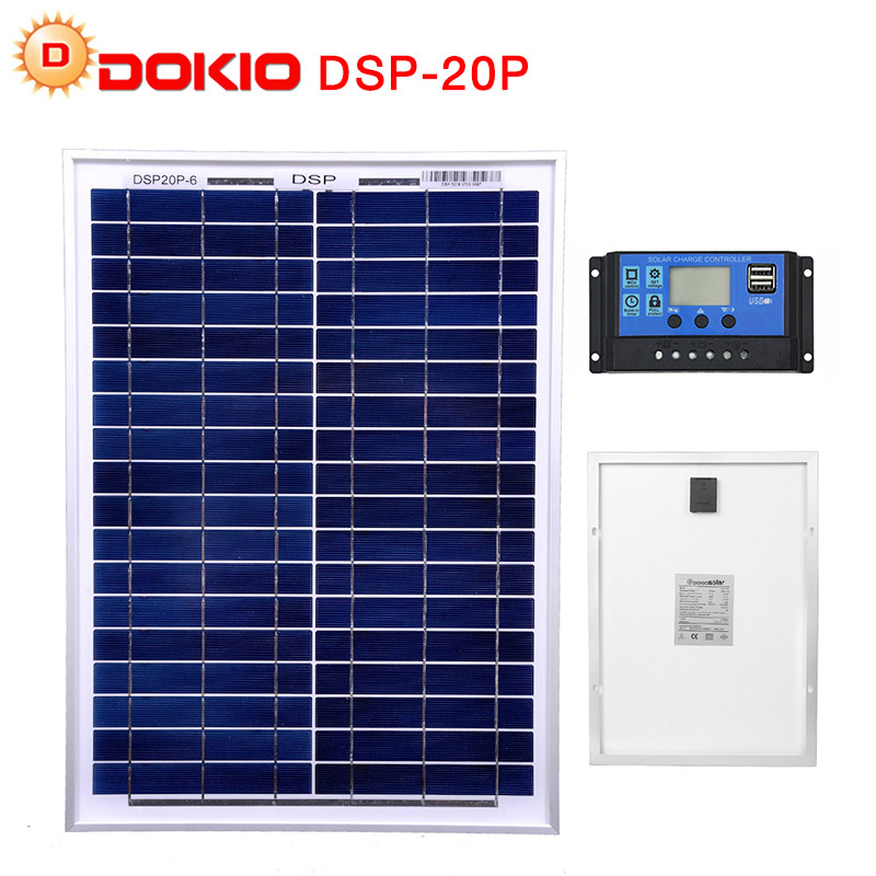 DOKIO 18 Volt 12V 20Watt Small Solar Panel China Waterproof Panels Solar Sets Cell/Module/System/Home/Boat 10A 12/24V Controlle-in Solar Cells from Consumer Electronics