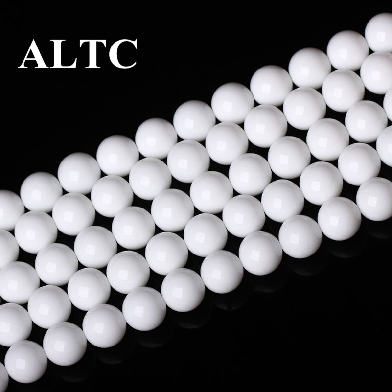 A 4-12mm Wholesale Natural Stone beads For Beading White Round Stone Loose Beading Diy Beads for jewelry making