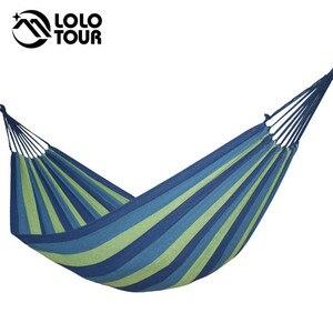 Image 1 - Pogrubienie płótno hamak na zewnątrz czas wolny Camping z Bind liny meble niebieski zielony niebieski