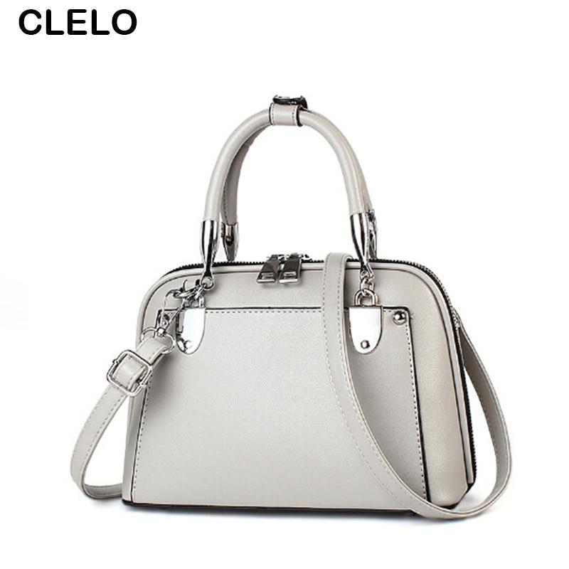 купить CLELO 2017 New Design Shell Bag Women Sweet Fashion Rivet Pu Leather Female Shoulder Bags Ladies Elegant Handbags Bolsos Mujer недорого