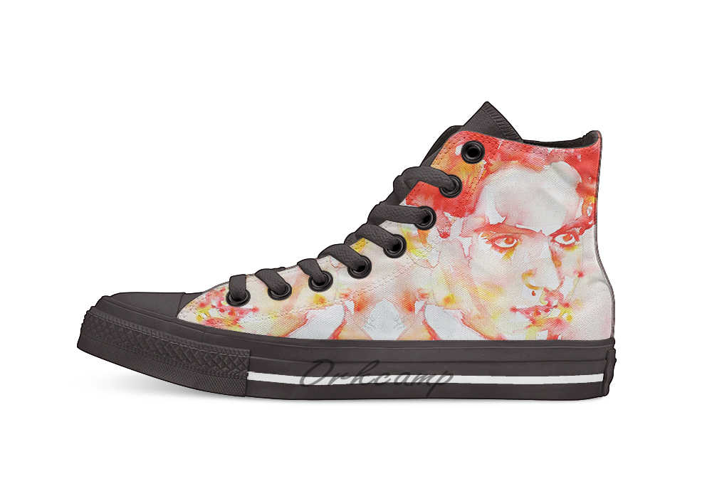 FEDERICO GARCIA LORCA watercolor portrait High Top Canvas Shoes Flat Casual Custom Unisex Sneaker Drop Shipping