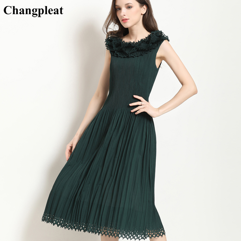 Changpleat 2019 Summer New Women Dress Miyak Pleated Fashion hollow out design slim Elastic waist sleeveless Female Dresses Tide-in Dresses from Women's Clothing    1