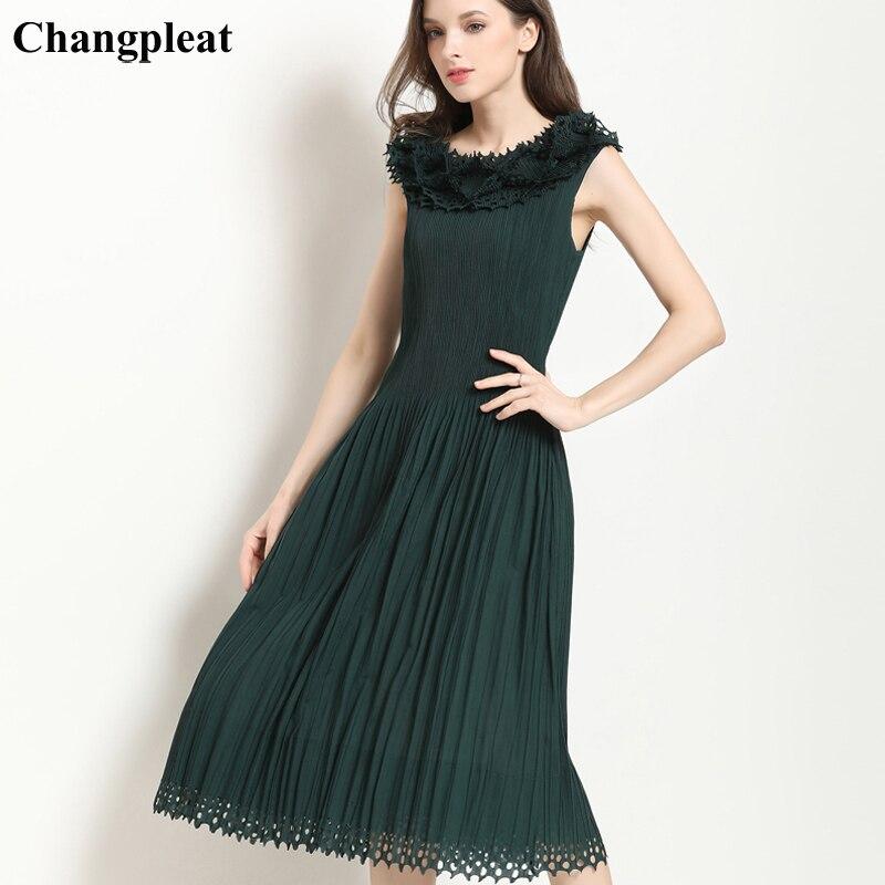 Changpleat 2019 verano nuevo vestido de mujer Miyak plisado moda ahuecado diseño delgado cintura elástica sin mangas vestidos femeninos marea-in Vestidos from Ropa de mujer    1