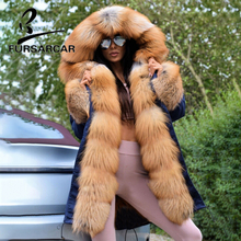 FURSARCAR Luxury Real Fur Coat Parka Women With Big Gold Fox Fur Trim Hood And Cuff Winter Thick Warm Fur Parka High Quality free shipping kid s100% cashmere cape with real fur trim length 30cm 6inch twisted fur with hood