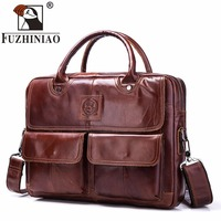 FUZHINIAO Genuine Cow Leather Briefcases Zipper Design Men Business Fashion Messenger Bags Soft Handle Computer Shoulder