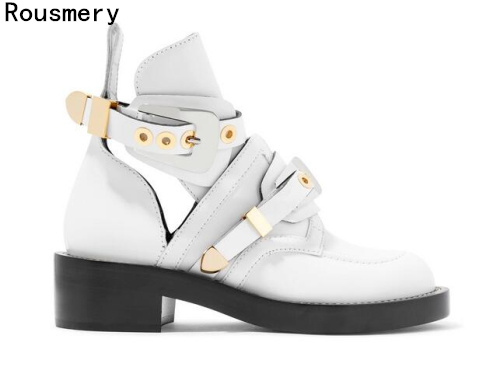 Free Shipping 2017 Spring Hot Women Fashion Cuts Out Gladiator Gold Buckle Low Heel Ankle Short Boots White Pu High QualityFree Shipping 2017 Spring Hot Women Fashion Cuts Out Gladiator Gold Buckle Low Heel Ankle Short Boots White Pu High Quality