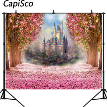 Capisco Pink Flowers Spring Photography Backdrop Rainbow Fairy tale Castle baby shower Princess birthday party Photo Background(China)