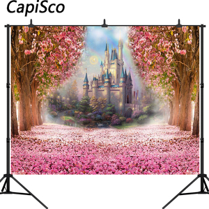 Capisco Pink Flowers Spring Photography Backdrop Rainbow Fairy tale Castle baby shower Princess birthday party Photo Background
