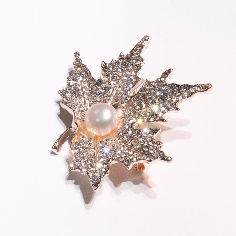 YIJIA Brooches Maple- ը թողնում է 3x5.5 սմ Rhinestone - Նուրբ զարդեր - Լուսանկար 3