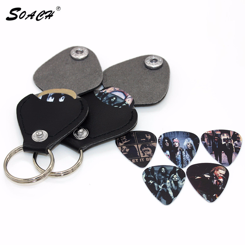 SOACH Hot 1-bitars gitarrplockar väska boxväska Svart Faux Leather Key Chain Gitarrpicks Hållare Plectrums Bag Case Nyckelring
