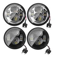 1 Pair 12V Motorcycle 4 65 Round LED Headlight For Harley Dyna Fat Bob 2008 2016