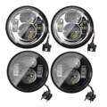 1 Pair 12V Motorcycle 4.65'' Round LED Headlight For Harley Dyna Fat Bob 2008-2016 Daymaker Black Chrome