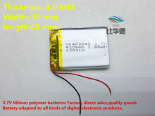 Size 403040 3.7v 420mah Lithium polymer Battery with Protection Board For MP4 PSP GPS Tablet PCs PDA Free Shipping