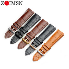 ZLIMSN Genuine Leather Watch Strap 16mm 18mm 20mm 22mm 24mm Watch Band for Tissot Seiko DW Longines samsung gear huawei watch GT цена и фото