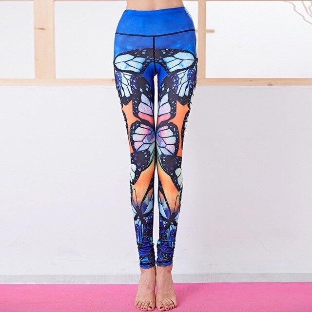 82b445861a8ae EF Butterfly Print Yoga Pants Women Gym Clothes Leggings Fitness Sports  Women Sportswear Tights Bottom High Waist Blue Autumn