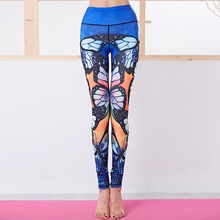 EF Butterfly Print Yoga Pants Women Gym Clothes Leggings Fitness Sports Women Sportswear Tights Bottom High Waist Blue Autumn