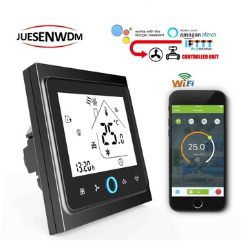 цена на TUYA 95-240VAC 24v 2pipe wifi raumthermostat switch for 3 speed fan coil units