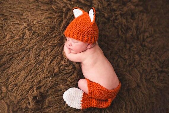 Baby fox outfit häkeln set baby tier hut neugeborenen foto prop ...
