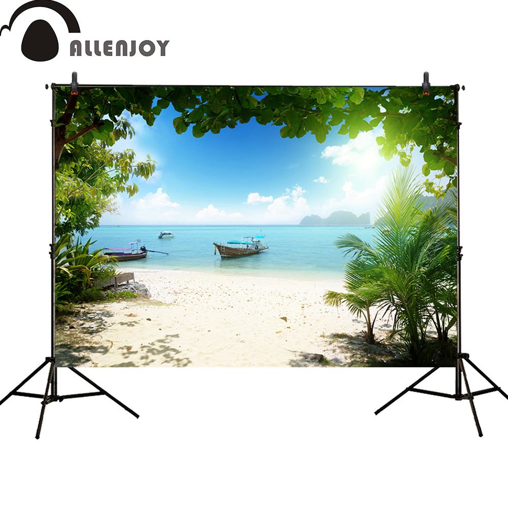 Allenjoy Photocall background Tropical sunshine sea Beach boat Plants trees summer baby shower photocall flame trees of thika