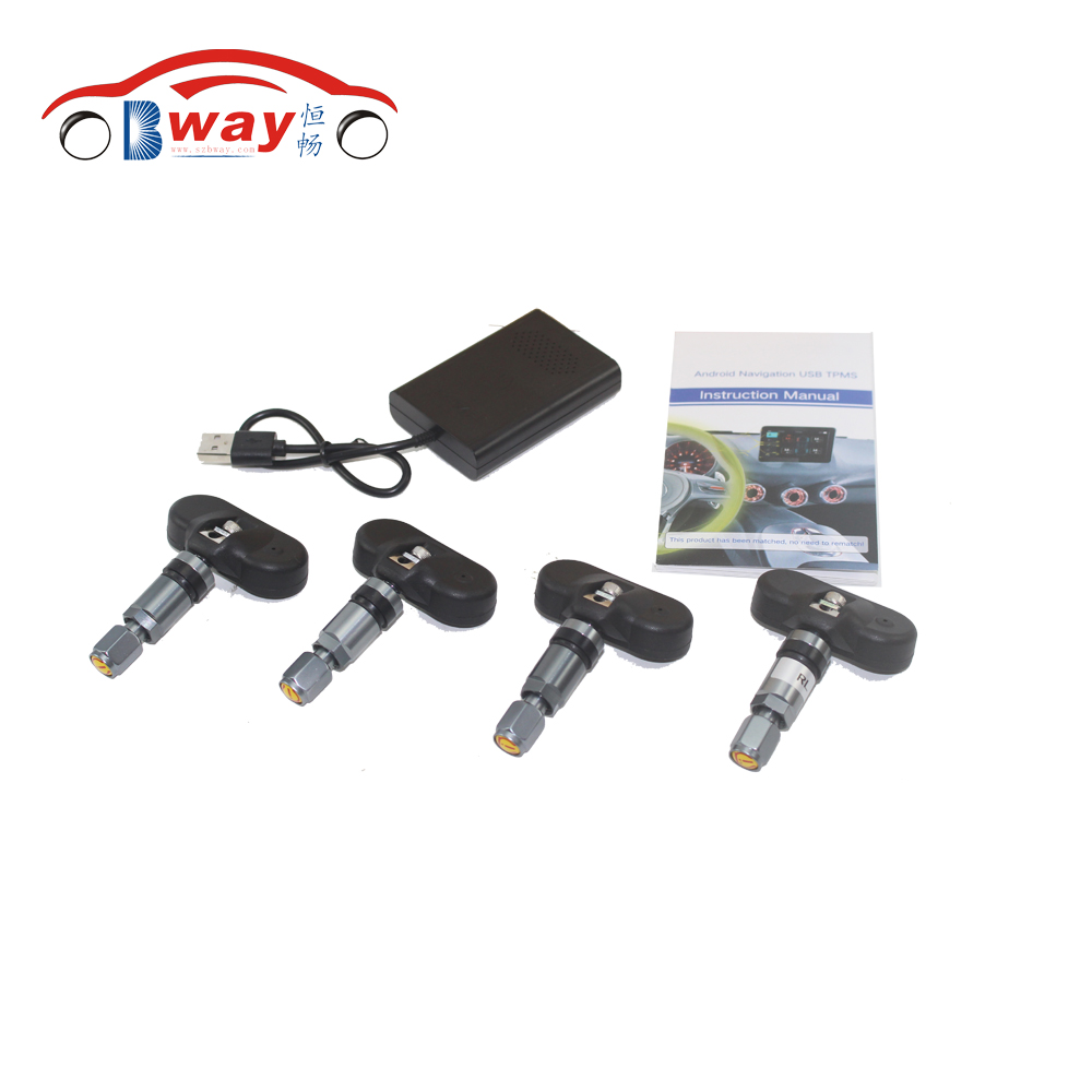 Bway USB Car TPMS Android Tire Pressure Monitoring with 4 Internal Sensors for Android car radio Auto Security Alarm Systems only one audio auto car wireless tpms tire pressure alarm system tpms with 4 internal sensors car diagnostic tool
