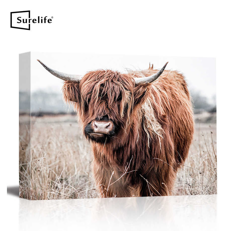 Highland Cow Alpine yak Animal C Canvas Painting Prints Stretched Frame  Wall Art Posters and Prints Pictures Frame Home Decor