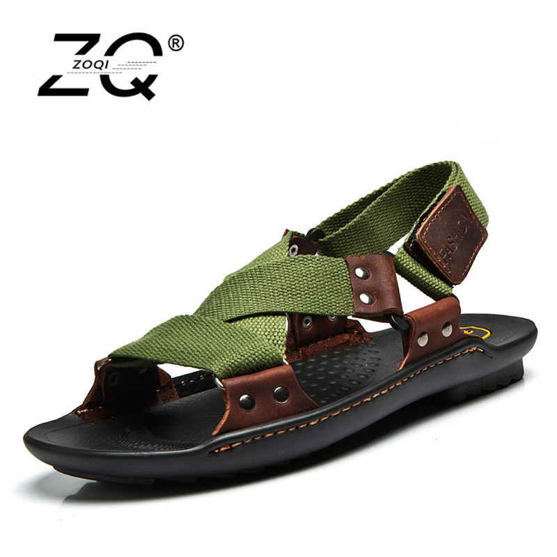 ZOQI Summer Beach Shoes Men Sandals 2017 Designers Sandals Men Brand Leather Slippers For Men Zapatos Sandalias Hombre 38-44 цена