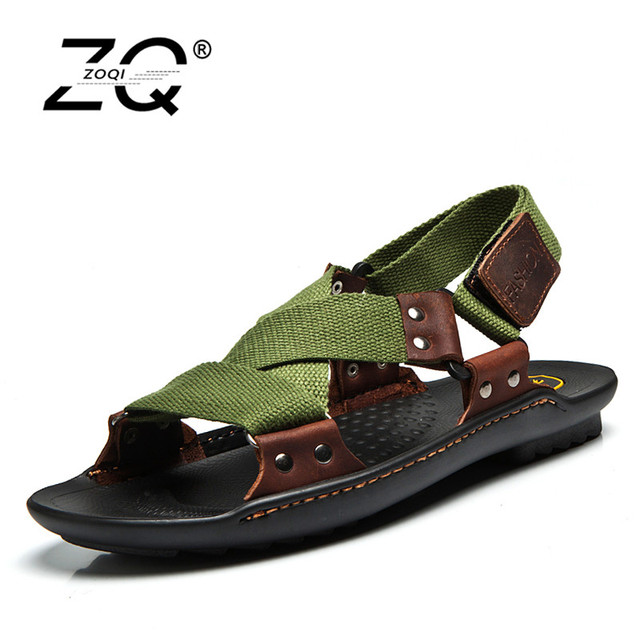 4972806301c312 ZOQI Summer Beach Shoes Men Sandals 2017 Designers Sandals Men Brand Leather  Slippers For Men Zapatos Sandalias Hombre 38-44
