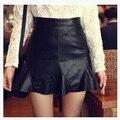 Mulheres moda de nova Mini saia de cintura alta sereia PU saia de couro fino moda saia S-XXL grátis e transporte da gota