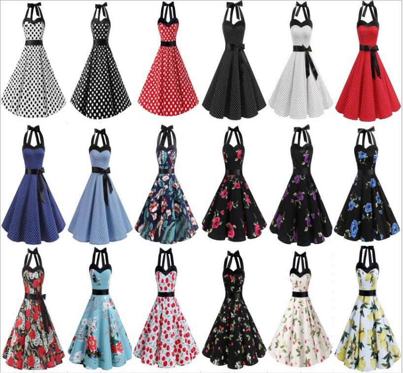 ecd4f5d3ce2 Detail Feedback Questions about Hepburn Summer printing Dresses Women 2018  New Maggie Tang 50s 60s Robe Vintage Retro Pin Up Swing Polka Dot  Rockabilly ...