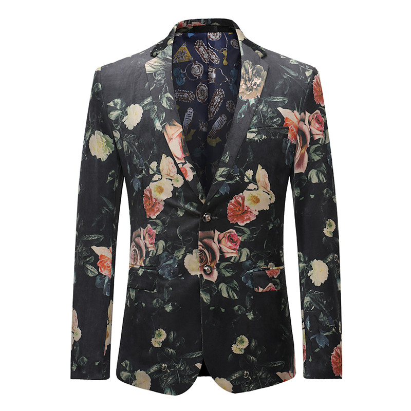 2019 Spring New Flower Print Mens Jacket Suit Slim Fit Leisure Coat Blazer Suit Men Party Formal Heren Colberts Jacket Men