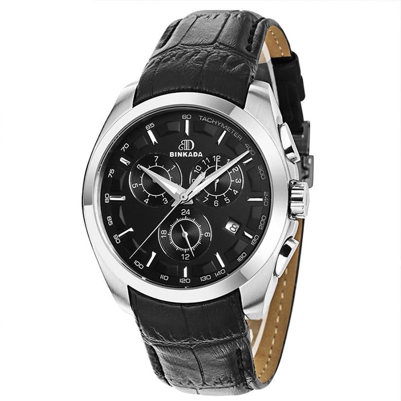 Męski automatyczny mechaniczny zegarek skórzany pasek - Męskie zegarki - Zdjęcie 3
