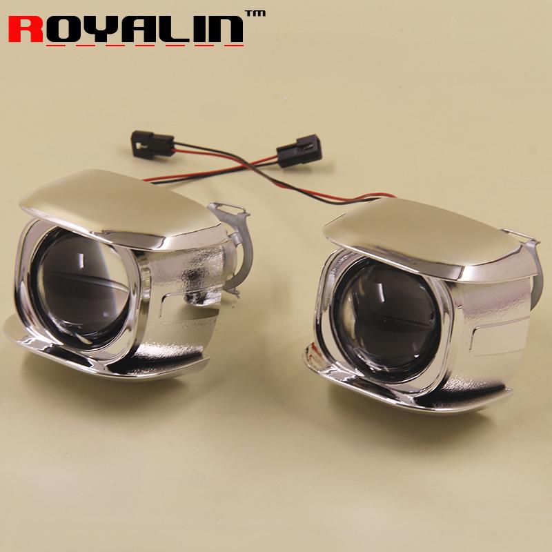 Prix pour ROYALIN Style De Voiture H1 bi-xénon HID Mini Projecteur Phares Lentille 1.8 ''2.0'' pour Moto H4 H7 Rénovations Brouillard Lumières DIY ampoules