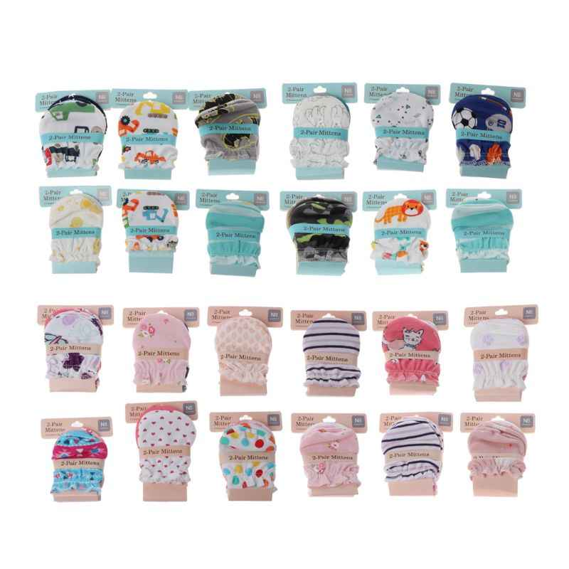2Pairs Fashion Baby Anti Scratching Gloves Newborn Protection Face Cotton Scratch Mittens