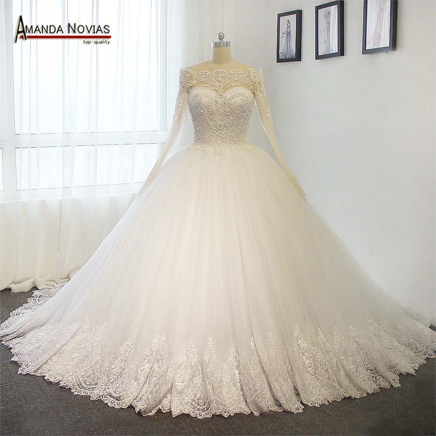 Luxury Full Pearls Wedding Dress Long Sleeves Ball Gown 2018 Wedding ...