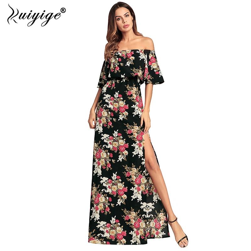 Ruiyige Women Chiffon Long Dress Slash Neck High Split Butterfly Sleeve Strapless Floral Print Party Maxi Summer Beach Vestido