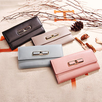 Real Genuine Leather Women Wallets Brand Designer High Quality Cell Phone Card Holder Long Lady Wallet