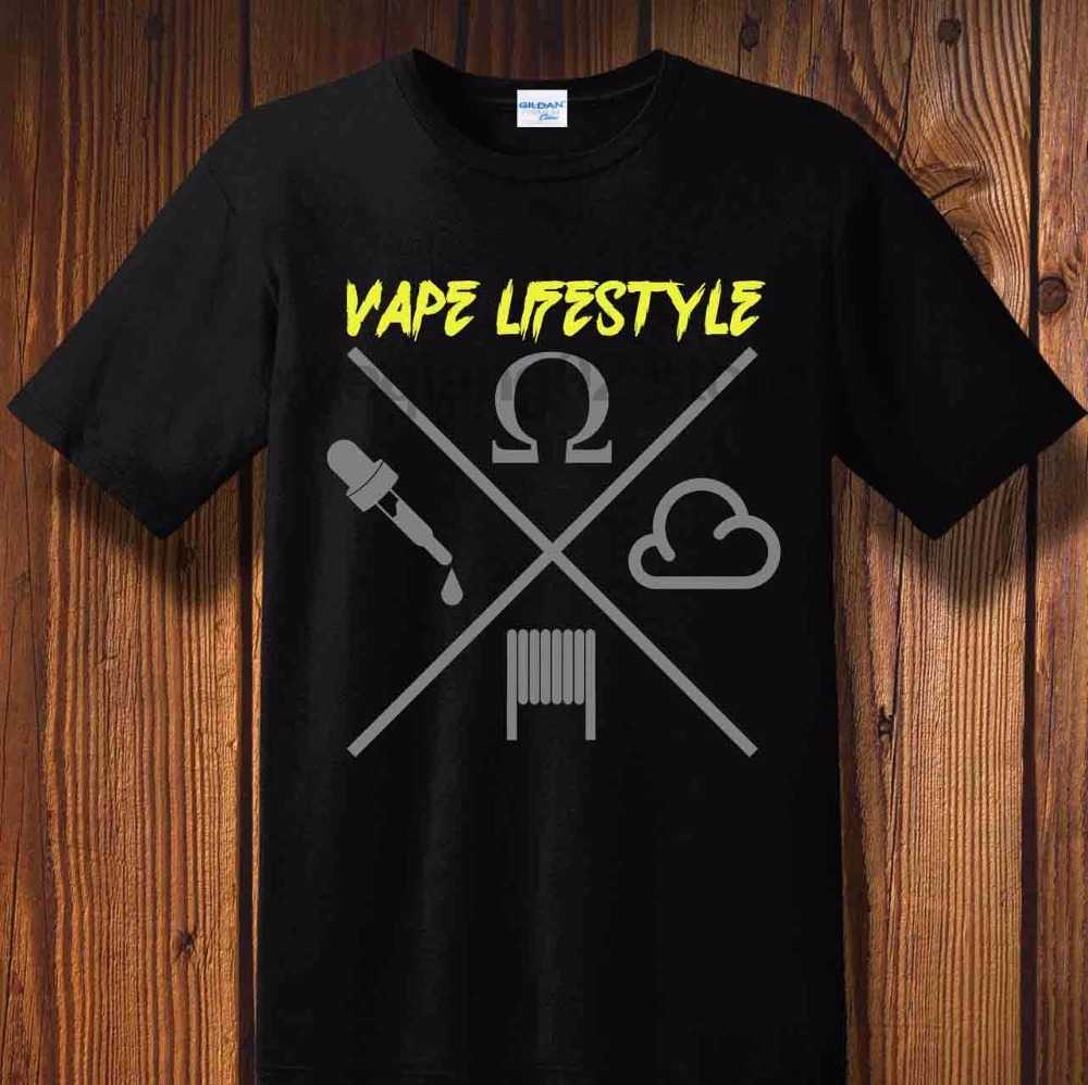 2018 Advertising Brand New Neon T Shirts Vape Lifestyle Vaping E-Zigarette Dampfen Dampfer Box Mod Liquid Akkuo Neck Tee shirt