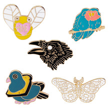 Kartun Butterfly Raven Lebah Magpie Hewan Perempuan Fashion Bros Pin Pesta Perhiasan(China)