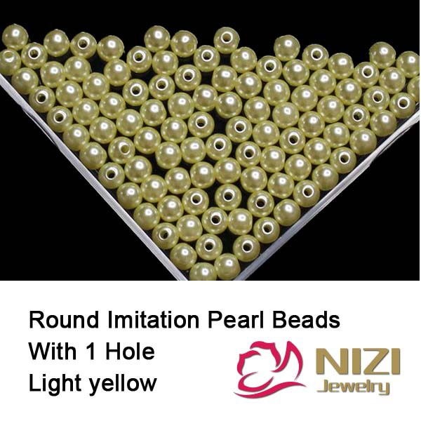 Fashion Imitation Pearl Beads With Hole 6mm 8mm 10mm Light Yellow Round Resin Imitation Pearl Beads For DIY Accessory 100g/bag цена