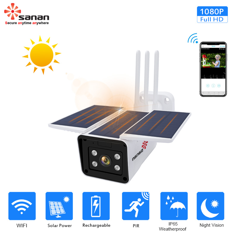 SANAN Free Cloud Storage 1080P Waterproof Outdoor Wifi Camera Solar Powered Wireless Cctv Camera Wireless IP Camera