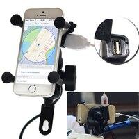 Montar Rotação de 360 graus 3.5-6.3 polegada GPS Do Telefone Móvel Suporte Do Telefone Universal Suporte Suporte Do ciclo de Motor Com 5V Porta Carregador USB